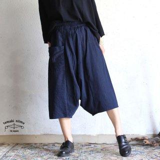 tamaki niime (タマキ ニイメ) 玉木新雌 basic wear tarun pants SHORT navy cotton 100%/タルンパンツ ショート ネイビー コットン100%