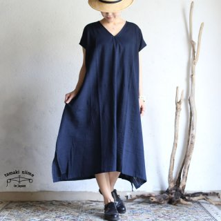 tamaki niime(タマキ ニイメ) 玉木新雌  basic wear fuwa t LONG Vネック navy cotton 100% / フワT ロング ネイビー コットン100%