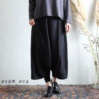 evam eva(エヴァム エヴァ)【2019aw新作】 ライジングリネン サルエルパンツ ブラック / raising linen sarrouel pants black E193T102