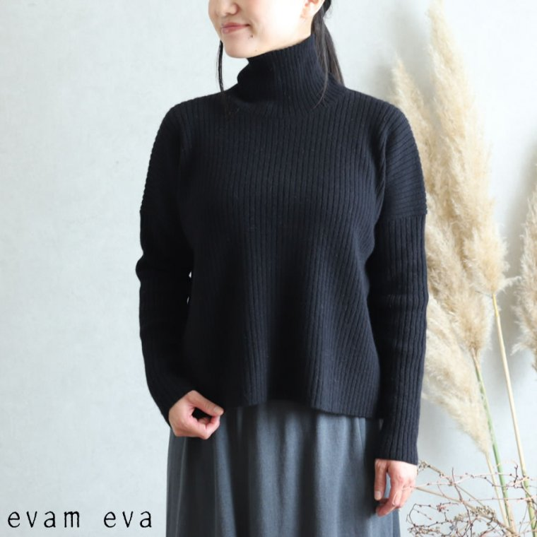 evam eva(エヴァム エヴァ)【2019aw新作】リブタートルネック ブラック