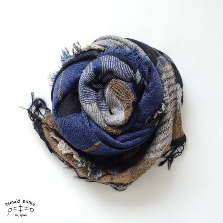 tamaki niime 玉木新雌 roots shawl wool middle ルーツショール ウール70% コットン30% ミドルサイズ