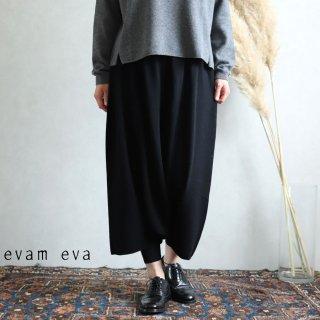 evam eva(エヴァム エヴァ)【2019aw新作】ウールサルエルパンツ ブラック / wool sarrouel pants black  E193K105