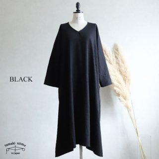 tamaki niime(タマキ ニイメ) 玉木新雌  きぶんシリーズ 11月 fuwa t ALL ブラック wool70% cotton30% / フワ T オール ウールベーシック