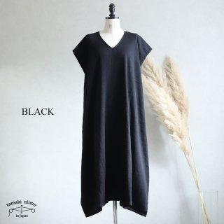 【再入荷】tamaki niime 玉木新雌  きぶんシリーズ 11月 fuwa t LONG V ブラック wool70% cotton30% / フワ T ロング V ウールベーシック