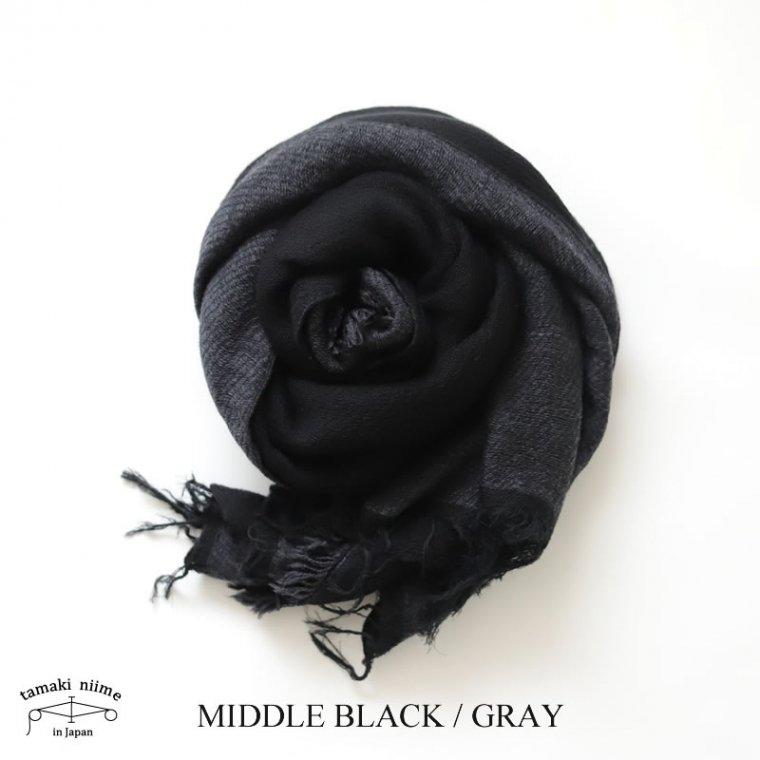 tamaki niime(タマキ ニイメ) 玉木新雌 きぶんシリーズ 11月 リバーシブル basic shawl MIDDLE ブラック×グレー wool70% cotton30%