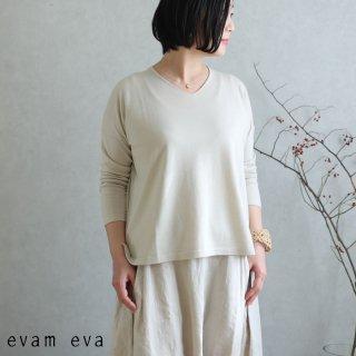 evam eva(エヴァム エヴァ)【2020ss新作】 ライジングヤーンVネックプルオーバー / raising yarn V neck pullover ecru(11) E201K015