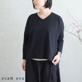 evam eva(エヴァム エヴァ)【2020ss新作】 ライジングヤーンVネックプルオーバー / raising yarn V neck pullover sumi(98) E201K015