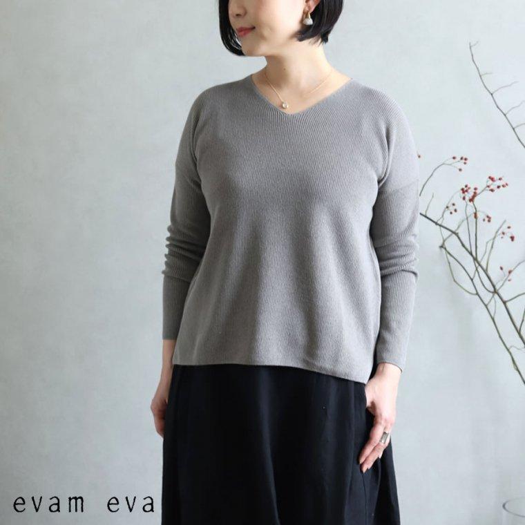 evam eva(エヴァム エヴァ)【2020ss新作】 コットンペーパー Vネックプルオーバー