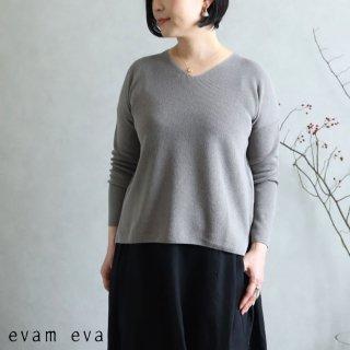 evam eva(エヴァム エヴァ)【2020ss新作】 コットンペーパー Vネックプルオーバー / cotton paper V neck pullover gray(80) E201K027