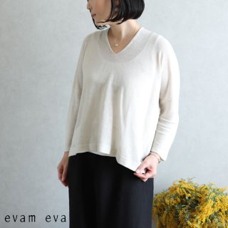 evam eva(エヴァム エヴァ)【2020ss新作】 リネンキュプラプルオーバー / linen cupro pullover antique white(04) E201K105