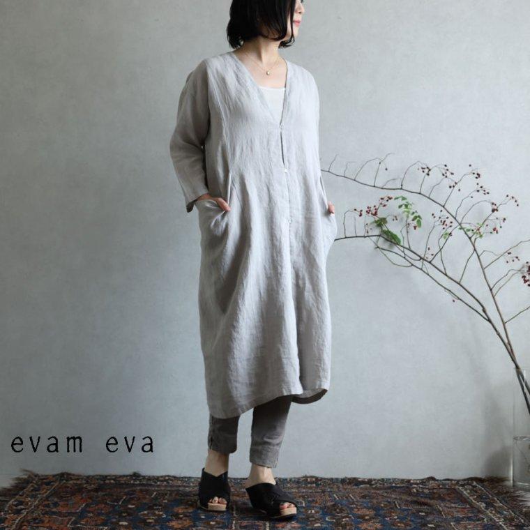 evam eva(エヴァム エヴァ)【2020ss新作】 リネン ドロップポケットローブ