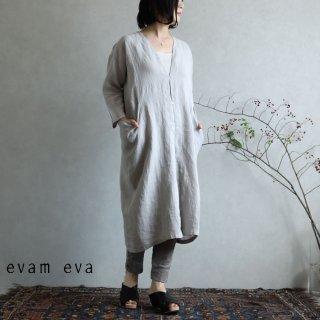 evam eva(エヴァム エヴァ)【2020ss新作】 リネン ドロップポケットローブ / linen drop pocket robe light gray(82)  E201T146