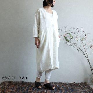 evam eva(エヴァム エヴァ)【2020ss新作】 リネン ドロップポケットローブ / linen drop pocket robe antique white(06)  E201T146