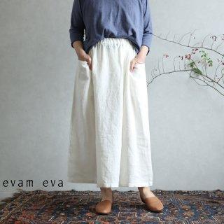 evam eva(エヴァム エヴァ)【2020ss新作】リネン ドロップポケットスカート / linen drop pocket skirt antique white(06)  E201T147