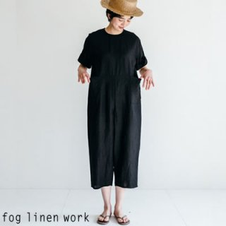 fog linen work(フォグリネンワーク) 【2020ss新作】カタリナ オールインワン ブラック / CATARINA JUMPSUITS BLACK リトアニア リネン LWA214-17