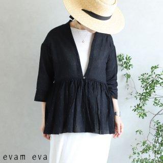 evam eva(エヴァム エヴァ)【2020ss新作】 カットドビー ギャザーカーディガン / cutdobby gather cardigan black(90)  E201T164