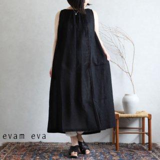 evam eva(エヴァム エヴァ)【2020ss新作】 カットドビー ギャザーワンピース / cutdobby gather one-piece black(90)  E201T165