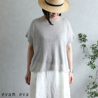 evam eva(エヴァム エヴァ)【2020ss新作】 リネンリリー プルオーバー / linen lily pullover light gray(82)  E201K158