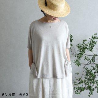evam eva(エヴァム エヴァ)【2020ss新作】 リネンシルク プルオーバー / linen silk pullover antique white(04)  E201K167