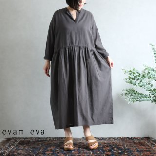 evam eva(エヴァム エヴァ)vie【2020aw新作】コットンジョーゼットワンピース / cotton georgette one-piece stone gray(86) V203T905