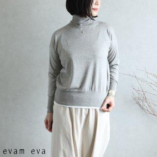 evam eva(エヴァム エヴァ) 【2020aw新作】シルクカシミヤ タートルネック / silk cashmere turtleneck gray(80)  E203K031