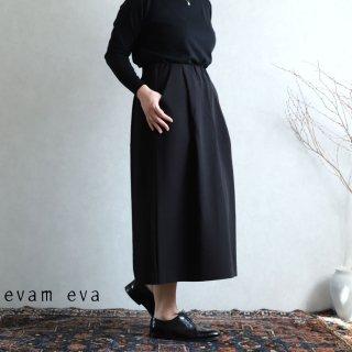 evam eva(エヴァム エヴァ) 【2020aw新作】コットンタックスカート / cotton tuck skirt black(90)  E203T072