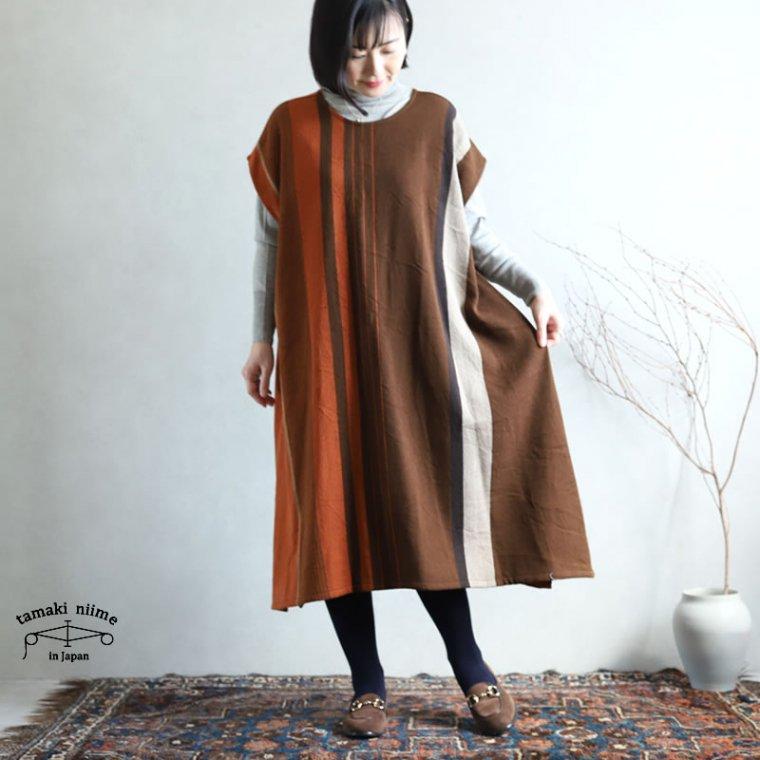 tamaki niime 玉木新雌 only one fuwa-T long 丸首(前後無し) wool70% cotton30%