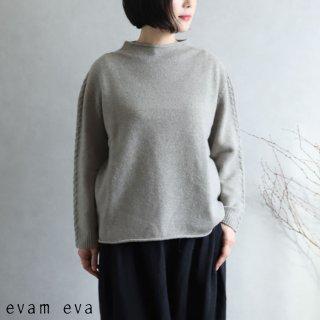 evam eva(エヴァム エヴァ) 【2020aw新作】ウールキャメル ハイネックプルオーバー / high necked pullover sage(52)  E203K098