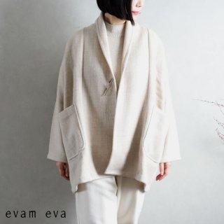 evam eva(エヴァム エヴァ) 【2020aw新作】ショートローブ コート / short robe coat ivory(05)  E203T125