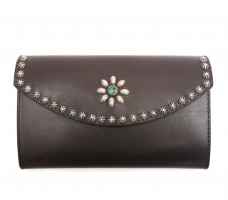 UMBRELLA STUDS LONG WALLET / DK BROWN