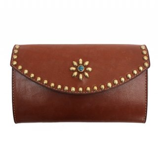 UMBRELLA STUDS LONG WALLET / BROWN