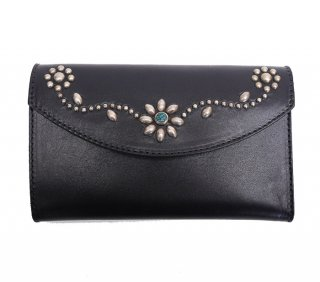 UMBRELLA STUDS LONG WALLET / FLOWER BLACK