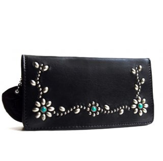 Flower Studs Wallet / Black