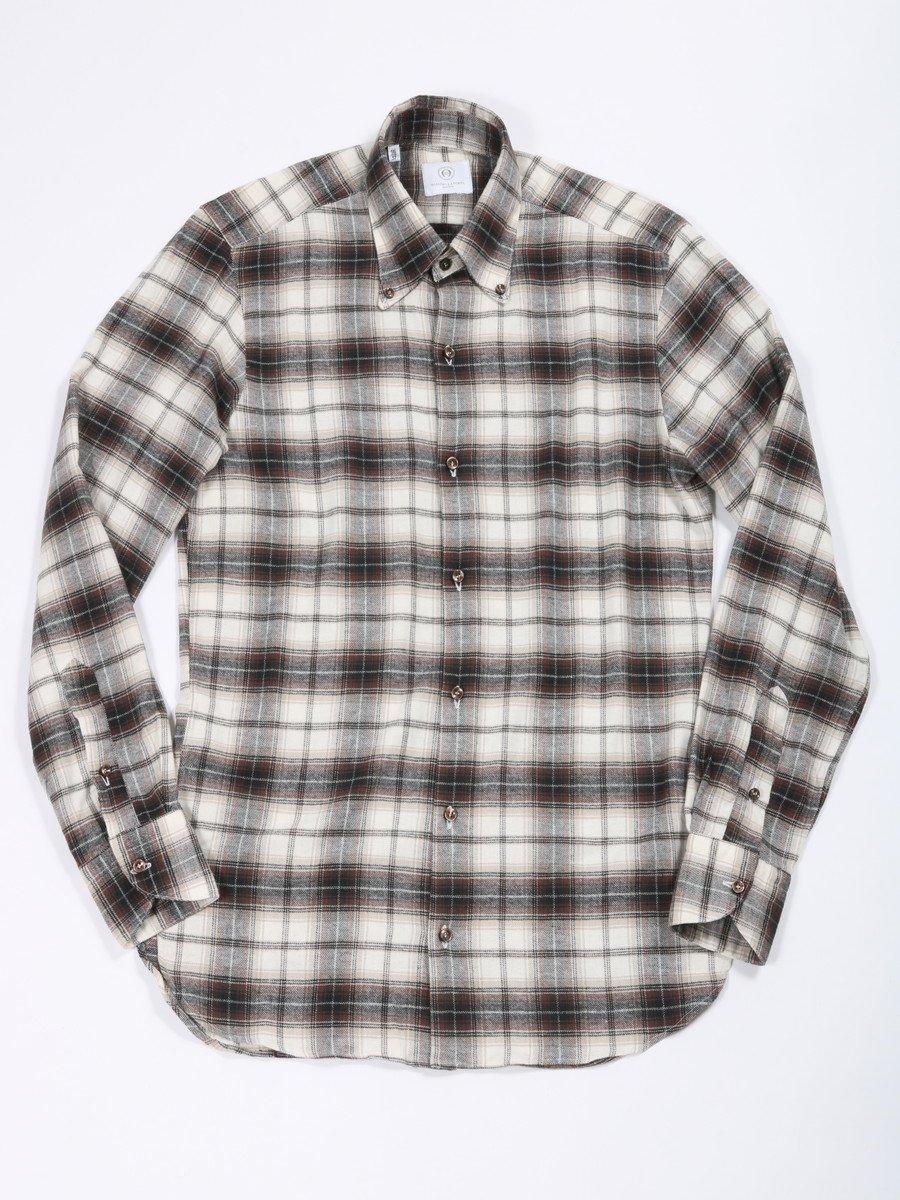 【MASSIMO LA PORTA】<br>オンブレチェックボタンダウンシャツ