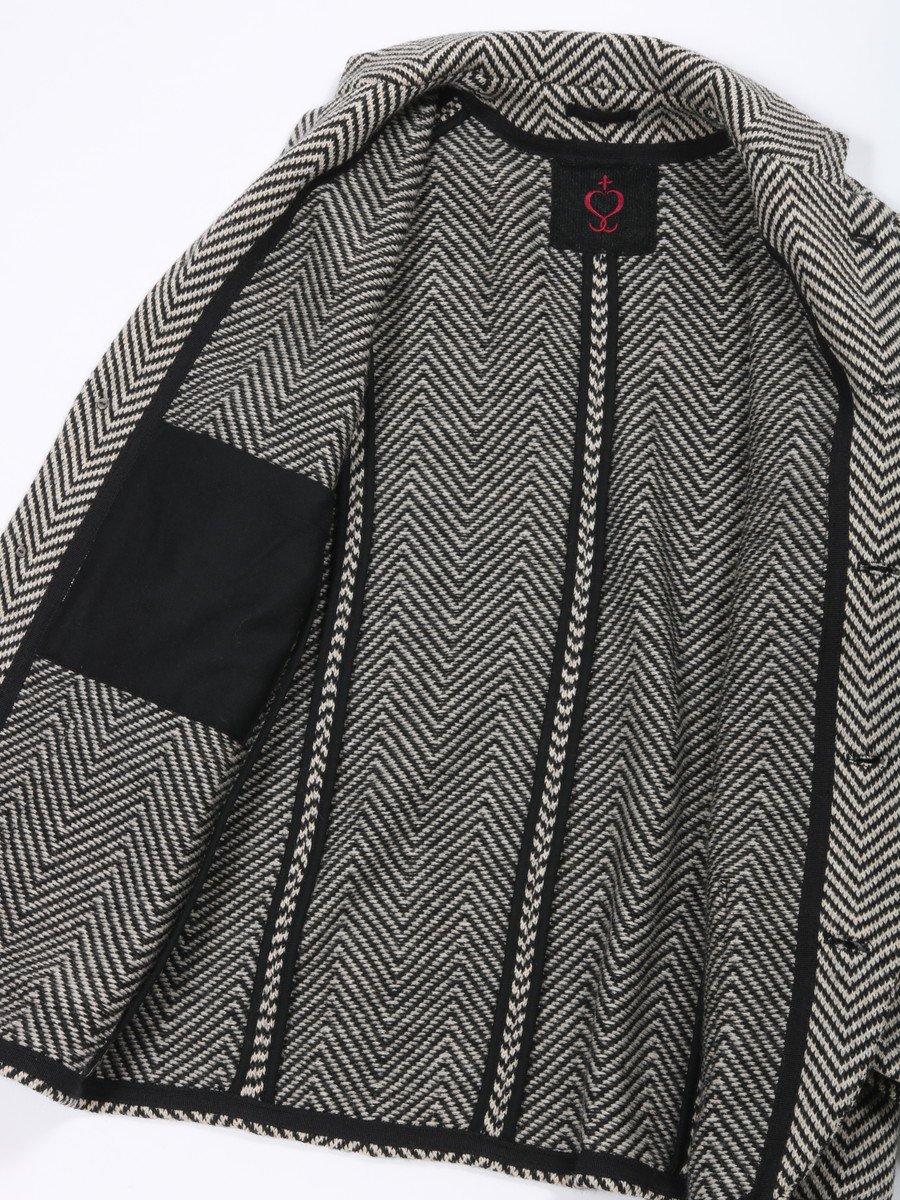 【SIDE SLOPE】ヘリンボーン柄ウールニットジャケット