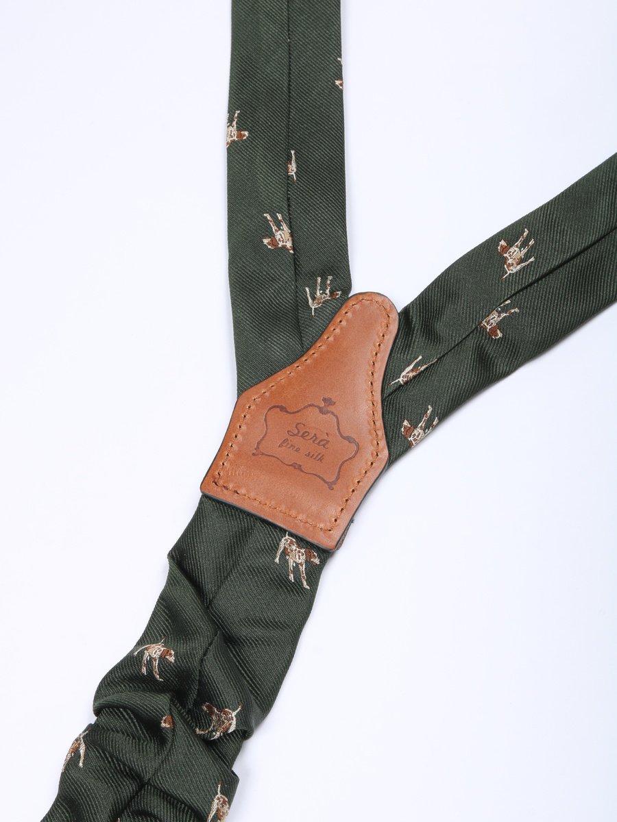 【Sera Fine Silk】ドッグパターンシルクサスペンダー