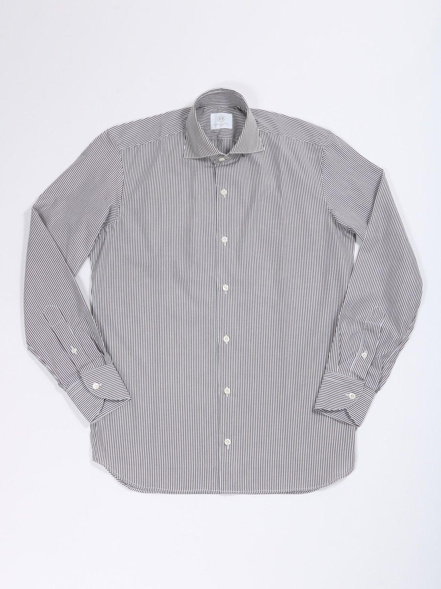 【MASSIMO LA PORTA】<br>ストライプセミワイドカラーシャツ
