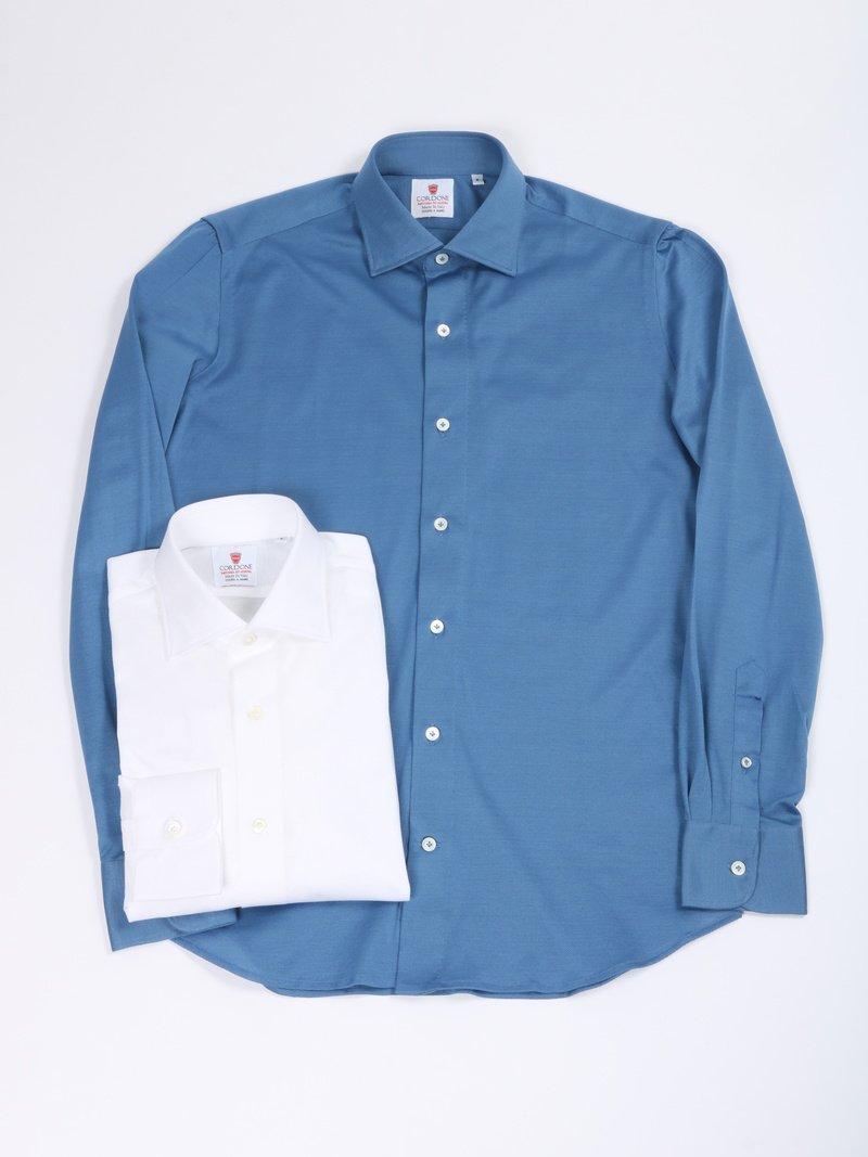 【Cordone 1956】<br>コットンジャージーセミワイドカラーシャツ