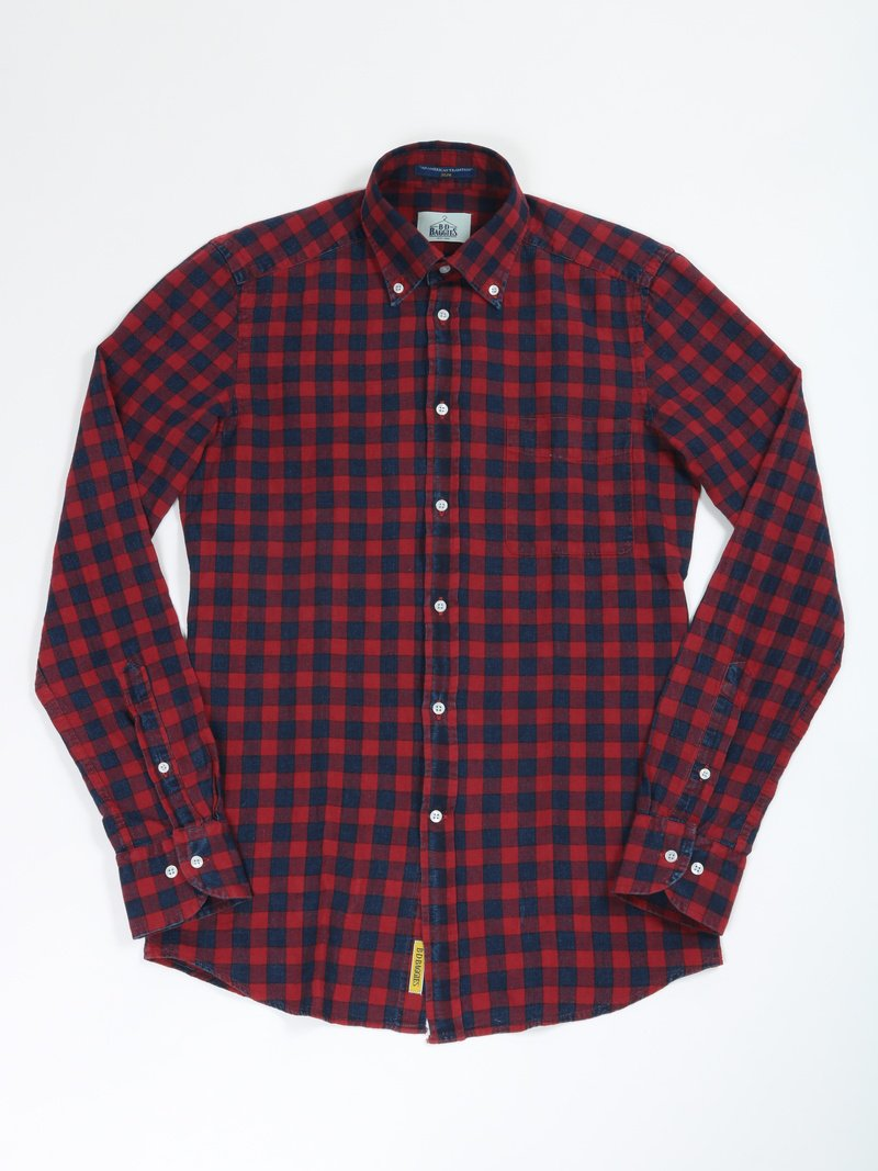 【B.D. Baggies】<br>リネンコットンチェックボタンダウンシャツ