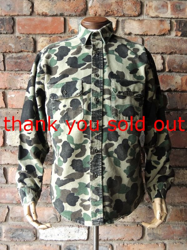 70's~ FiveBrother Cotton Flannel Camo Shirt sizeM