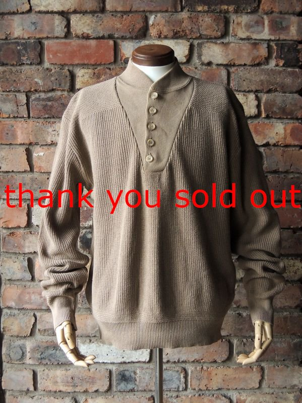 80's L.L.Bean Cotton Henry neck Sweater type:U.S.Army sizeM