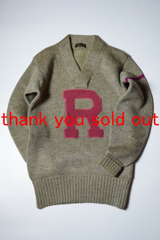 Around 40's Unknown wool Lettered Vneck Knit Sweater R
