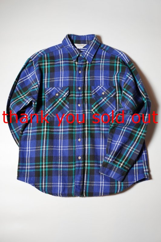 70's80's FiveBrother Cotton Flannel check shirt