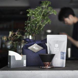 Beasty Coffee by amadana ドリッパー ギフトセット (ドリッパー[マットブラック]、フィルター、豆100g[STANDARD])
