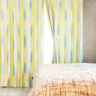 スウェーデン調のプリントが可愛い 遮光2級【ムカヴァ】グリーン おしゃれなインテリアにおすすめの国産オーダーカーテン 寝室や出窓、カフェカーテンにも◎