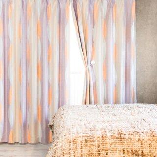 スウェーデン調のプリントが可愛い 遮光2級【ムカヴァ】パープル おしゃれなインテリアにおすすめの国産オーダーカーテン 寝室や出窓、カフェカーテンにも◎