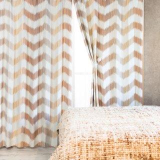 人気のプリントカーテン 遮光2級【テット】ブラウン おしゃれなインテリアにおすすめの国産オーダーカーテン 寝室や出窓、カフェカーテンにも◎