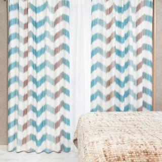 人気のプリントカーテン 遮光2級【テット】ブルー おしゃれなインテリアにおすすめの国産オーダーカーテン 寝室や出窓、カフェカーテンにも◎