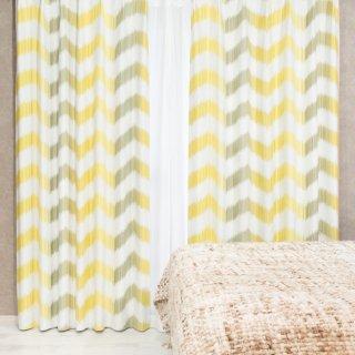 人気のプリントカーテン 遮光2級【テット】イエロー おしゃれなインテリアにおすすめの国産オーダーカーテン 寝室や出窓、カフェカーテンにも◎