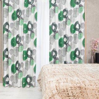 スウェーデン調のモダンなプリント 遮光2級【プーレア】グリーン おしゃれなインテリアにおすすめの国産オーダーカーテン 寝室や出窓、カフェカーテンにも◎